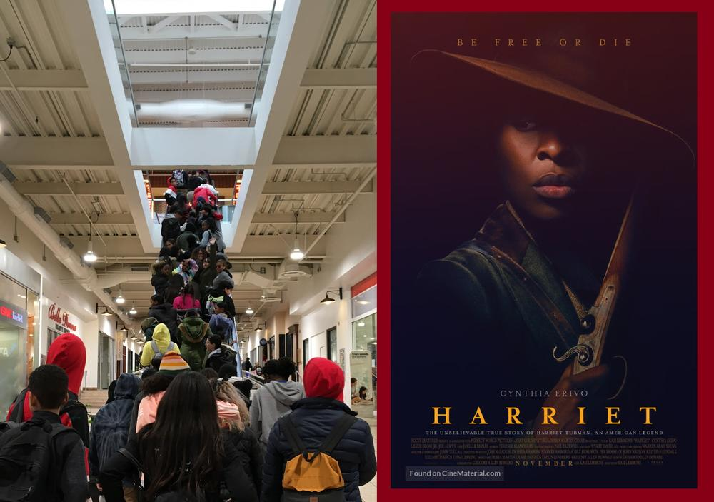 HARP students ascending an escalator to the movie theater to watch Harriet.